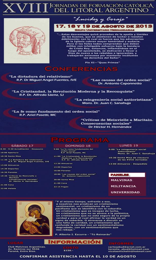 XVIII JORNADAS DE FORMACIÓN CATÓLICA DEL LITORAL ARGENTINO