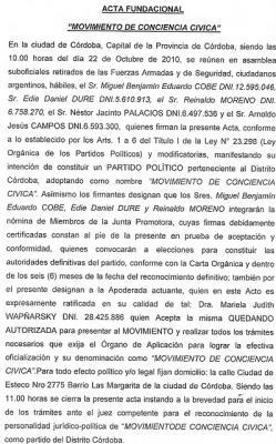 """CONFORMACION DE """"MOVIMIENTO DE CONCIENCIA CIVICA"""""""