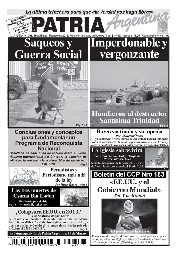 Periódico Patria Argentina – Enero 2013